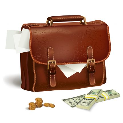 Classic modern brown leather business briefcase with documents money and coins concept isolated vector illustration